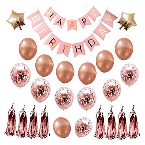 First Birthday 18' Foil Balloon - Rose Gold Happy Birthday Balloons, Party Decorations Foil Star Balloons Latex Confetti Balloons Happy Birthday Balloon Banner with Tassels and Ribbons for All Ages Birthday Party Supplies