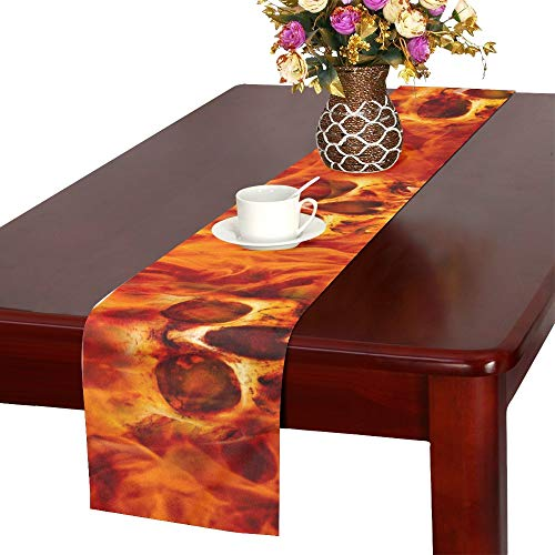JTMOVING Red Hot Fire Skull On Halloween Background Table Runner, Kitchen Dining Table Runner 16 X 72 Inch for Dinner Parties, Events, Decor
