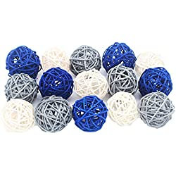 AllHeartDesires 15PCS Mixed Navy Blue Gray White Decorative Wicker Rattan Ball Nautical Themed Party Wedding Birthday Baby Shower Decoration