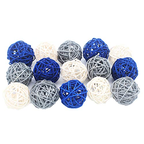 (ALLHEARTDESIRES 15PCS Mixed Navy Blue Gray White Decorative Wicker Rattan Ball Nautical Themed Party Wedding Birthday Baby Shower Decoration)