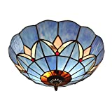 Magglo Lighting Tiffany Bedroom Ceiling Light Blue Glass 12 Inch Lampshade