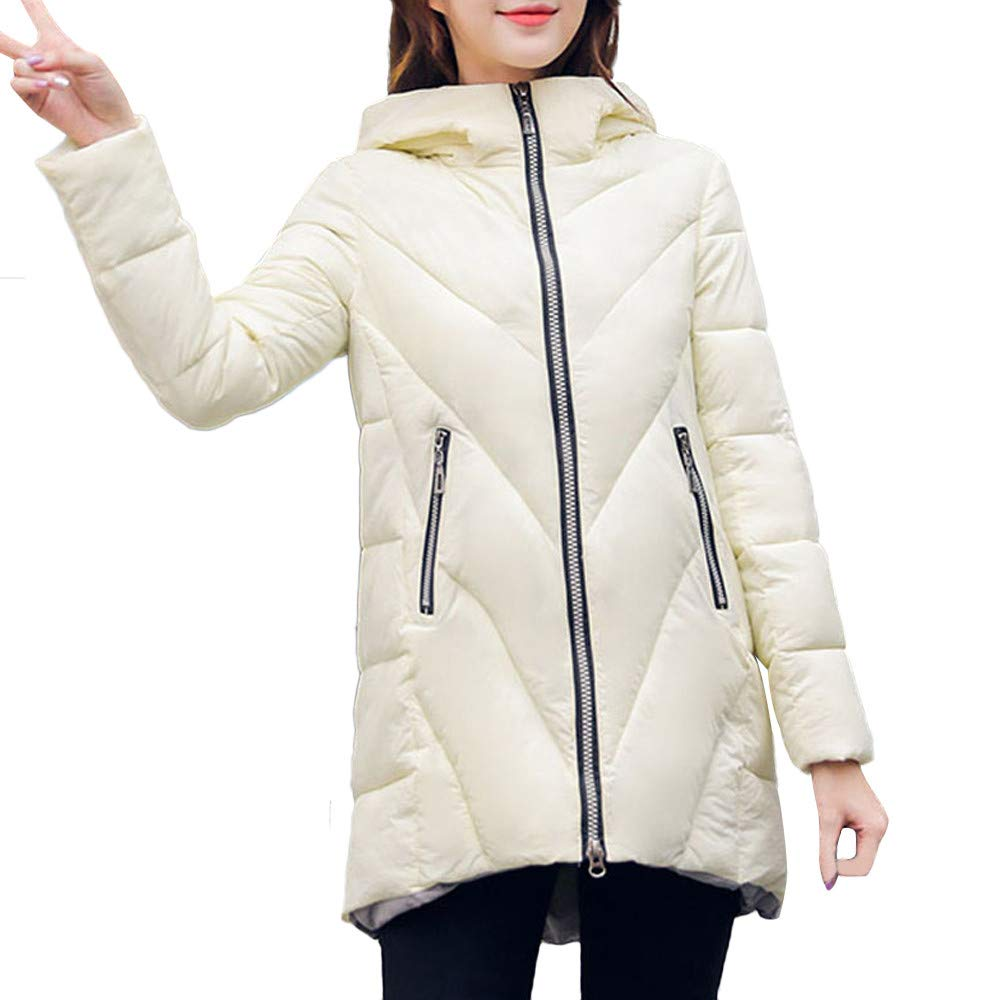 Amazon.com: AOJIAN Women Jacket Long Sleeve Outwear Zipper Quilted Pocket Solid Padded Coat White: Clothing