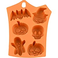 Sanwooden Let's Party Funny Bat Pumpkin Silicone Cake Mold Halloween Party Fondant Sweets Decor Mould - Orange
