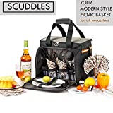 Search : PREMIUM Extra Large Picnic Basket keeps food Hot/Cold for 12 Hours UPGRADED lunch tote For 4 People Picnics includes stainless steel spoons forks plates napkins wine With Flatware (PICNIC BASKET)