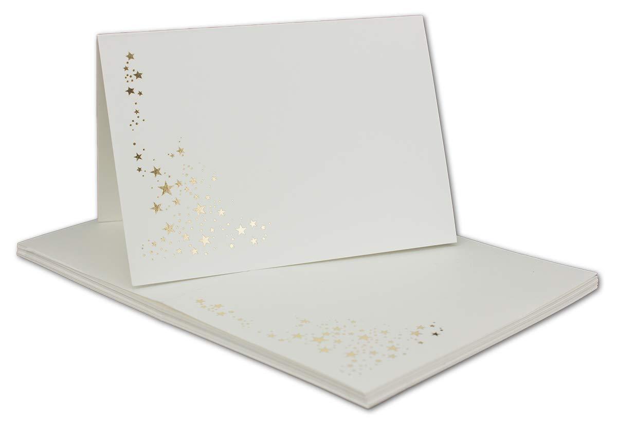 Faltkarten-Set mit Umschlägen DIN A6   Naturweiß Naturweiß Naturweiß mit Goldenen Metallic Sternen   200 Sets   für Drucker geeignet  Ideal für Weihnachtskarten - Qualitätsmarke  NEUSER FarbenFroh B07QF2ZHHR | Ausgezeichneter Wert  dd1510