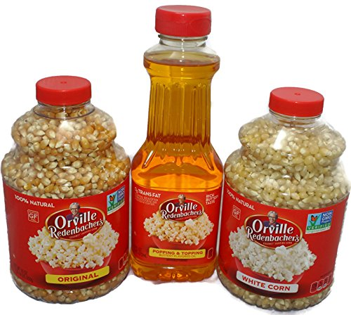le Redenbachers Gourmet Popcorn Kernels & Popping Oil Topping (16 oz), Original Yellow, White (30 oz) (Orville Redenbacher Oil)