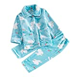 Autumn Winter Flannel Cute Pajamas Set For Girl Children's Costumes Age 2-10 (9T/10T, Blue-Rabbit)