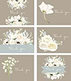 Premium All Occasion Shower and Wedding Thank You Cards, Bridal White Florals assortment - 36 note card boxed set, blank inside with 38 envelopes - Made in the USA