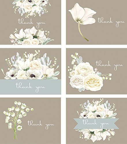 Premium All Occasion Shower and Wedding Thank You Cards, Bridal White Florals assortment - 36 note card boxed set, blank inside with 38 envelopes - Made in the (Bridal Shower Thank You Cards)