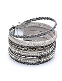 YOYOMA Leather Bracelets for Men and Women,Magnetic Wrap Bangle Bracelet Multilayer Cuff Bracelet with Crystal