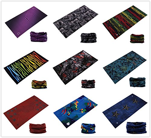 SmilerSmile 9pcs Assorted Seamless Outdoor Sport Bandanna Headwrap Scarf Wrap, 12 in 1 High Elastic Magic Headband & Collars Muffler Scarf Face Mask with UV Resistance, (Vogue)