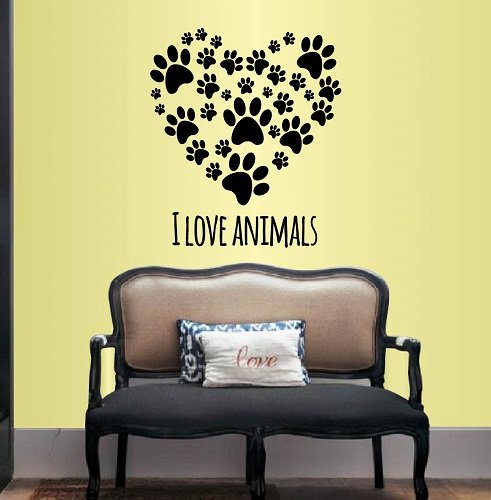 - Wall Vinyl Decal Home Decor Art Sticker I Love Animals Heart of Paw Prints Pet Store Shop Grooming Salon Veterinary Room Removable Stylish Mural Unique Design 248
