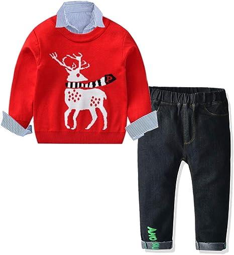 LJLis Bebés Juego De Ropa Navidad Niño Manga Suéter Raya Camisa Elasticidad Jeans Traje De Tres Piezas,90: Amazon.es: Deportes y aire libre