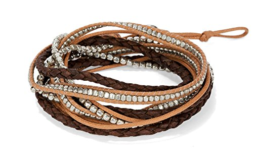 Handmade Boho 3 Wrap Multi Strand Bracelet Camel, Brown and Silver for Women | SPUNKYsoul Collection Beaded Leather