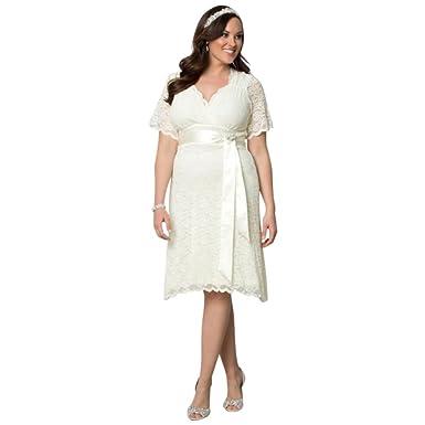 Davids Bridal Lace Confections Plus Size Short Wedding Dress Style