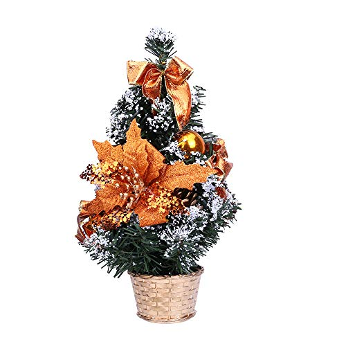 (SUJING Mini Christmas Tree Frosted Christmas Tree Desktop,Mini Green Christmas Pine Tree Ornaments (Orange, 30cm))