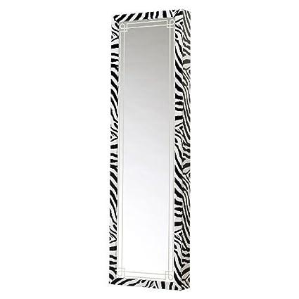 Mirrotek Jewelry Armoire Over The Door Mirror Cabinet, Zebra