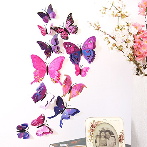 LiveGallery 24 Pcs Removable Cute Double-deck Beautiful 3D Butterfly Wall art Decor Decal Home decorations Stickers Nursery room Decals Bedroom Living room Windows Decorations DIY art (Purple)