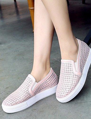 ZQ gyht Zapatos de mujer-Plataforma-Plataforma / Comfort-Mocasines-Exterior / Vestido / Casual-Semicuero-Negro / Rosa / Blanco , pink-us11 / eu43 / uk9 / cn44 , pink-us11 / eu43 / uk9 / cn44 pink-us4-4.5 / eu34 / uk2-2.5 / cn33