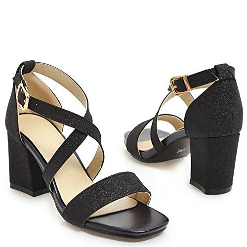 Bloc 7 Mode Briller Sandales TAOFFEN Femmes Black nxOqST