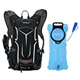 OUTON 18L Hydration Pack Backpack with 2L Water Bladder, Lightweight Breathable Cycling Hiking Running Skiing Outdoor Backpack Hydration with Rain Cover, Helmet Net (Black&Grey)