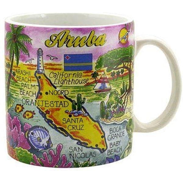 Amazon Com Aruba Map Caribbean Souvenir Collectible Large Coffee Mug 4 H X 3 75 D 16oz Kitchen Dining