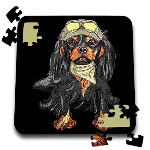 3dRose Sven Herkenrath - Animal - Portrait of a Funny Cavalier King Charles Spaniel Dog with Baseball Cap - 10x10 Inch Puzzle (pzl_290746_2)