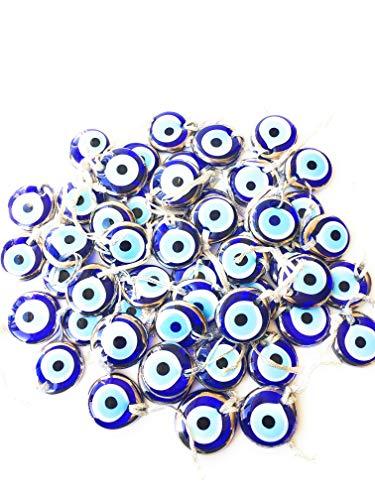 "Bion, Silver Evil Eye Glass Beads, 1.7"" (4.5cm), malocchio Evil Eye Wall Hanging, Gold Evil Eye Charm, car Rear Mirror Charm, Greek Eye, Ojoturco, Turkish Evil Eye, Nazar"