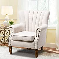 Harper & Bright Designs Accent Chair Flared Arm Chair with Nail Head Trim Classic Living Room Chair (beige)