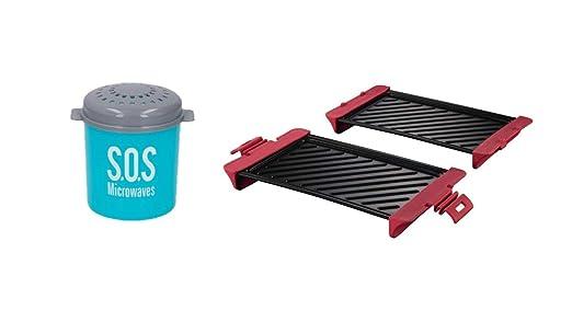Utensilio de cocina para asar en el microondas, color rojo: Amazon ...