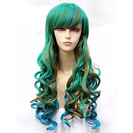 Moda pelucas de Cosplay naturales Peluca de pelo largo y rizado de colores peluca cosplay verde