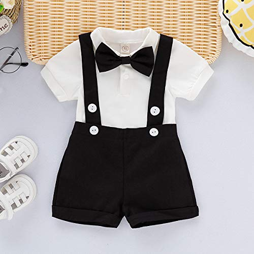 Infant Boy Formal Wear - Baby Boys Gentleman Outfits Set Short Sleeve Romper with Tie and Overalls Bib Pants Wedding Tuxedo Outfits (Black, 0-6 Months)