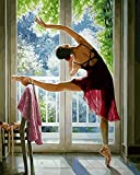 TianMai New Paint by Number Kits - Sunlight Practicing Dance Girl 16x20 inch Linen Canvas Paintworks - Digital Oil Painting Canvas Kits for Adults Children Kids Decorations Gifts (No Frame)