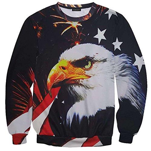 RXBC2011 Men's American Star Flag Eagle 3D Print Crewneck Pullover