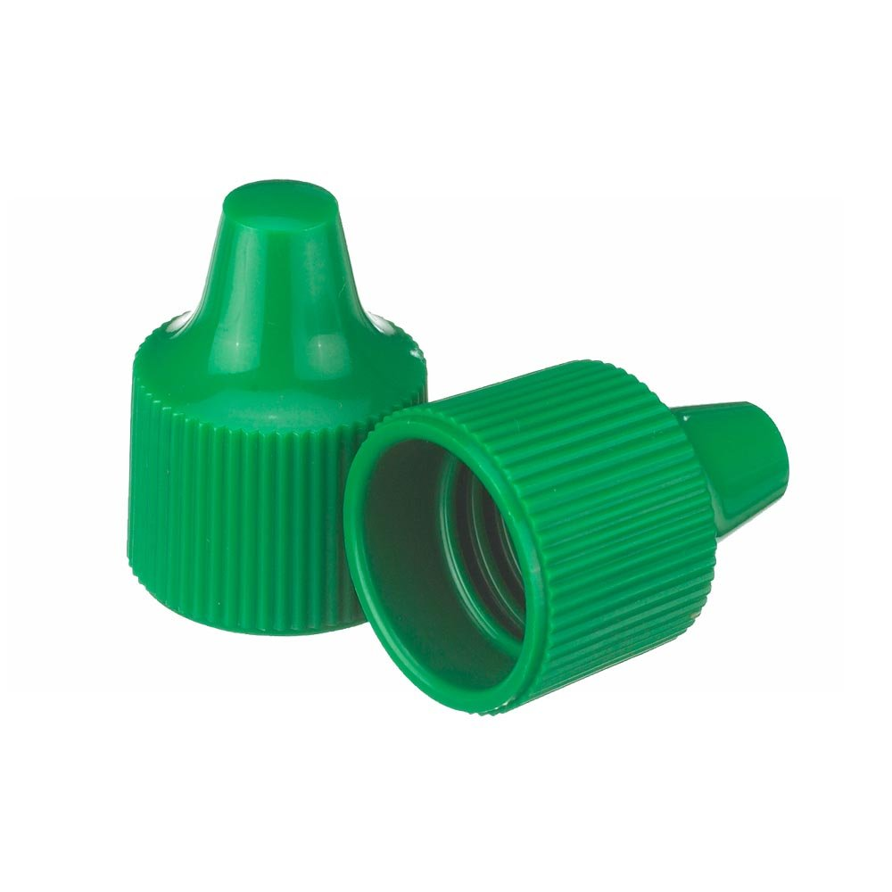 Wheaton 242516 Bouchon pour Flacon Compte-Gouttes 15-415 pour Embout 15 mm et Flacons Compte-Gouttes 7-15 mL, Vert (Boî te de 100) Vert (Boîte de 100)