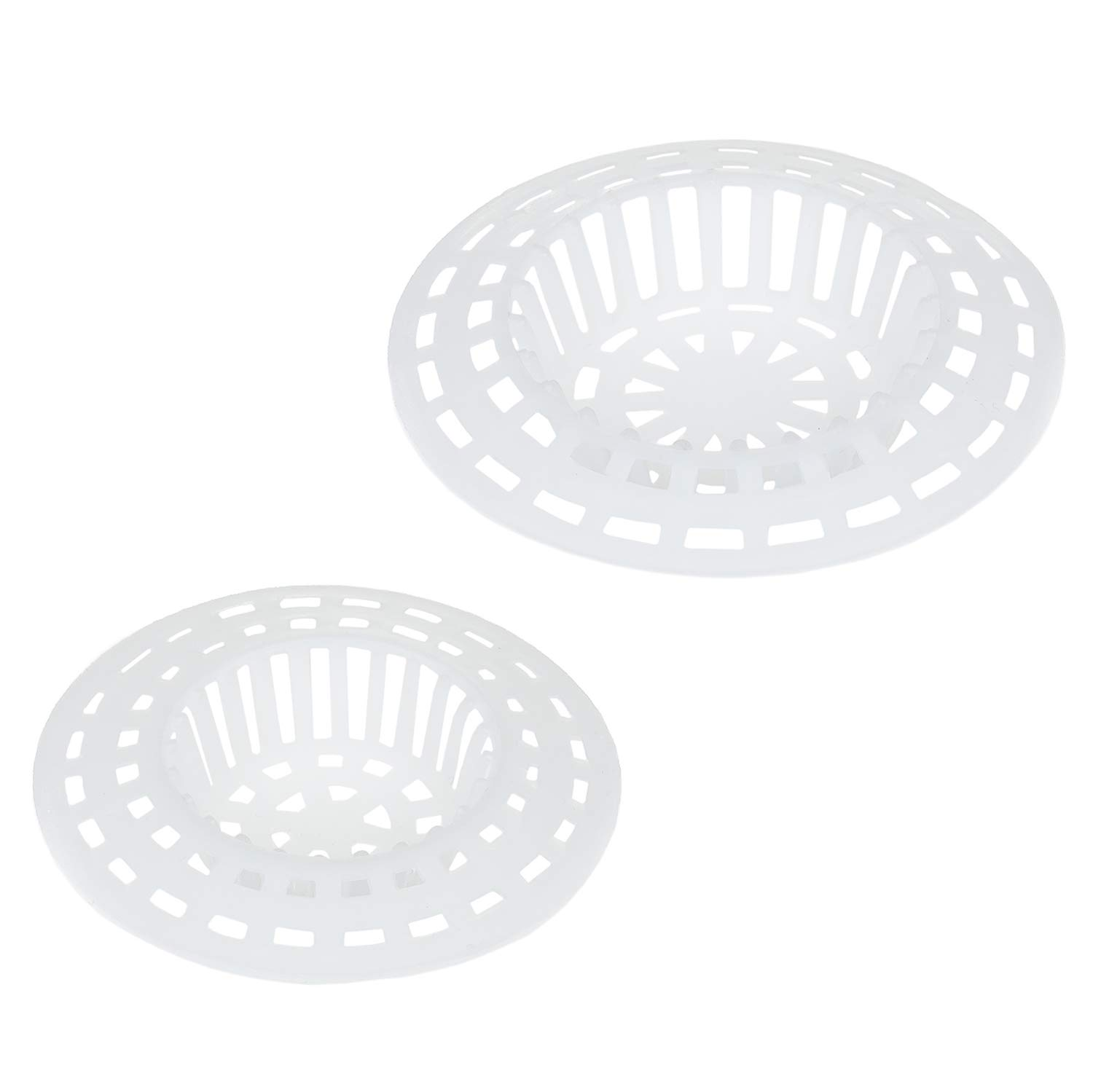 Kitchen Sink Strainer White Drain Protector Large and Small Bathtub Drain Cover Drain Catcher Plastic Sink Strainer Set of 2