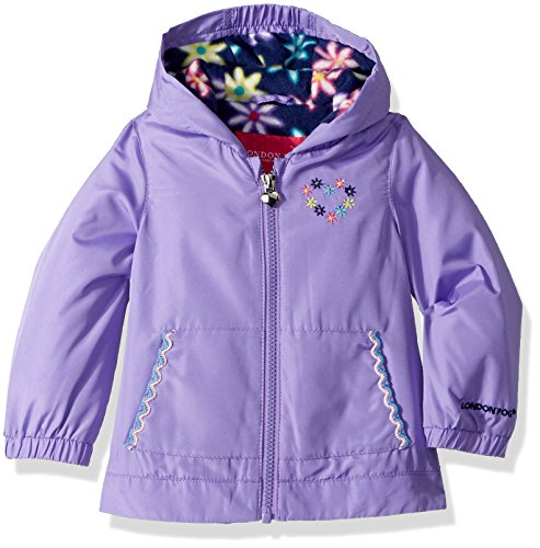 London Fog Baby Girls Floral Printed Fleece Lined Jacket, Electric Violet 24M
