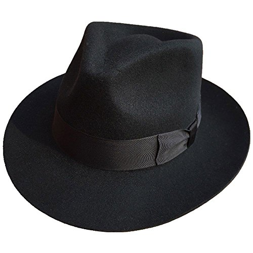 MJ Michael Jackson Billie Jean with Name Black Fedora Wool Hat Trilby Collection (M) -