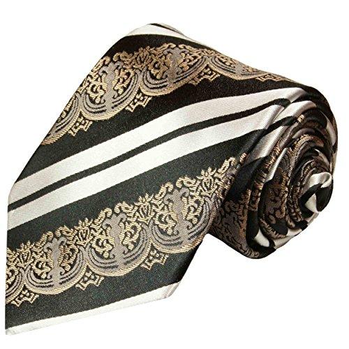 (Paul Malone Extra Long Necktie 100% Silk Black White Bronze)