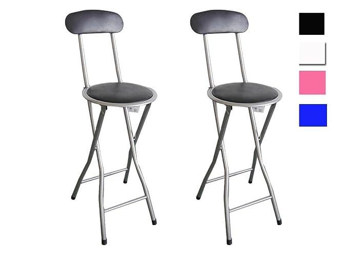 Juego de 2 sillas de bar acolchadas y plegables: Amazon.es: Hogar