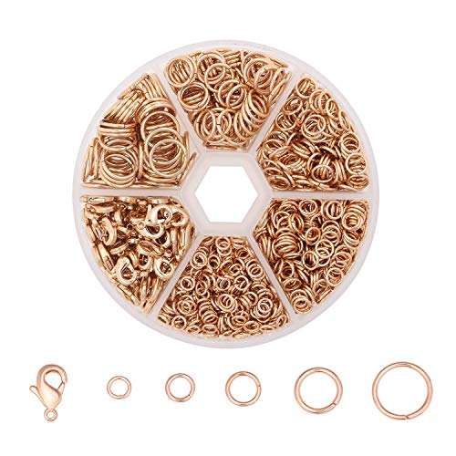 (Wholesale Assorted Size Chainmail Rings Rose Gold Round Open Jump Rings Connector Bulk for Jewelry Making, Approx 1350 PCS)