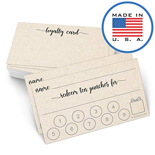 """321Done Punch Card or Customer Loyalty Reward Card (50 Cards) 3.5"""" x 2"""", Business Card Size, Redeem 10 Punches or Visit for Prize, Tan Kraft Color"""