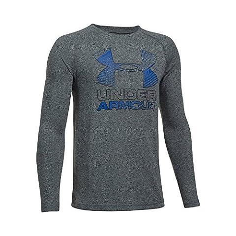 Under Armor Boys' Hybrid Big Logo Long Sleeve T-Shirt, Black/Ultra Blue, Youth Medium (Ultra Blue)