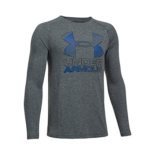 Under Armour Boys' Hybrid Big Logo Long Sleeve T-Shirt, Black/Ultra Blue, Youth Large
