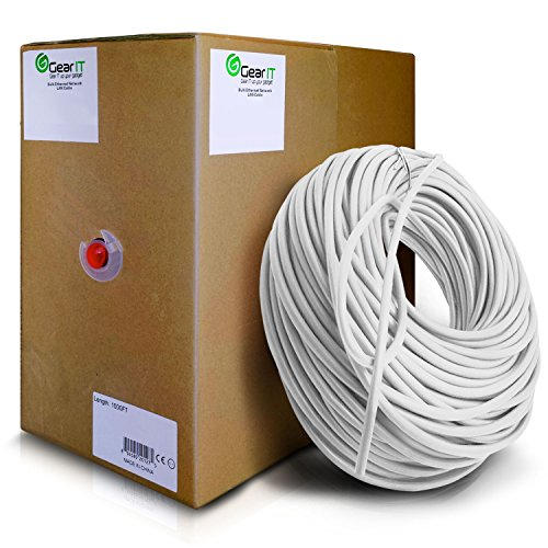 GearIT Cat5e Ethernet Cable Bulk 1000 Feet - Cat 5e 350Mhz 24AWG Full Copper Wire UTP Pull Box - In-Wall Rated (CM) Stranded Cat5e, White (1000 Foot Cat5e 350mhz Cable)