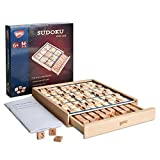Wooden Sudoku Board Game with Drawer - with Book of 100 Sudoku Puzzles - Math Brain Teaser Desktop Toys