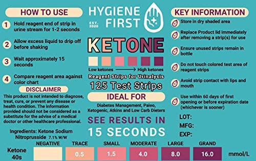 HYGIENE FIRST Ketone Urinalysis Test Strips,125 Count, Ideal to Help with Ketogenic and Low-Carb Diets and Intermittent Fasting. 8