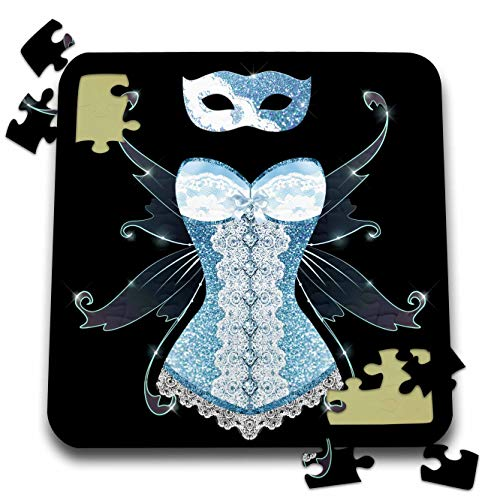 3dRose Anne Marie Baugh - Design - Blue Image of Glitter Corset with Fairy Wings and Masquerade Mask - 10x10 Inch Puzzle (pzl_316276_2)
