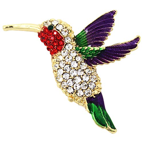 Hummingbird Costumes - Large Hummingbird Crystal Brooch Pin with