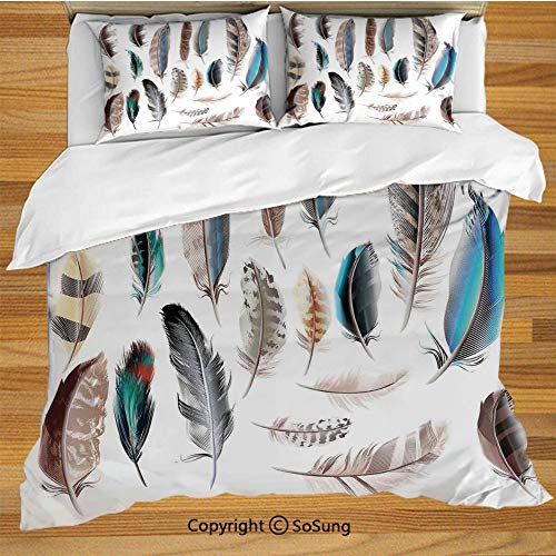 Feather House Decor King Size Bedding Duvet Cover Set,Western Feather Setting Pigmented Bird Body Parts Growth Nature Art Design Decorative 3 Piece Bedding Set with 2 Pillow Shams,Multi (All Quiet On The Western Front Nature)